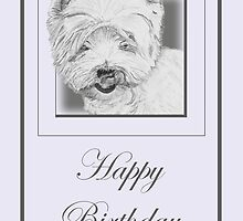 Pencil Drawing of West Highland Terrier (Westie) on Birthday Card by Catherine Roberts