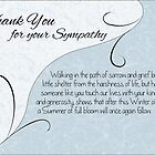 Thank You Sympathy Card - Pastel Blue with Vintage Scrolls by Samantha Harrison