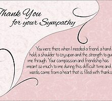 Thank You Sympathy Card - Pastel Pink with Vintage Scrolls by Catherine Roberts