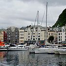 Boats at Marina in Alesund, Norway by Gerda Grice