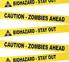 Caution Zombie Ahead Sign by Diana Beato
