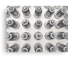 Hollow Point 9mm Bullets in Black and White Canvas Print