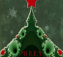 Merry Christmas Greeting - Tree and Star Fractal by MotherNature
