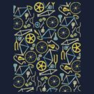 Bicycle Assembly Pattern (blu) by Benjamin Whealing