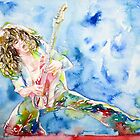 EDDIE VAN HALEN PLAYING the GUITAR watercolor portrait.1 by lautir