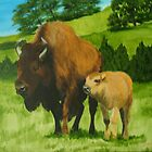 Buffalo Mom and Baby by BrandyHouse