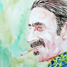 FRANK ZAPPA SMOKING a CIGARETTE watercolor portrait by lautir