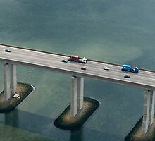 Orwell bridge, aerial shot, blue, grey, green by claudiagannon