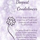 With Deepest Condolences Lilac Sketched Flowers with Sentiment Words by Catherine Roberts
