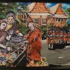 The Monks Thankful for food during ny celebration by joanewyte47