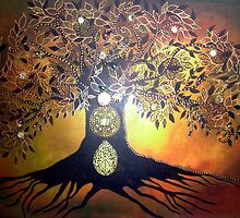 Tree of Life - Original Mixed Media Painting by Maradiop