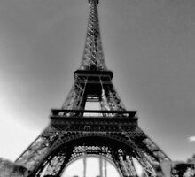 Eiffel Tower Black and White  by Karen Lewis