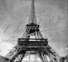 Eiffel Tower with Vintage Script  by Karen Lewis