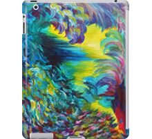 FLIGHT ON TAP - Whimsical Colorful Feathers Fountain Peacock Abstract Acrylic Painting Purple Teal iPad Case/Skin