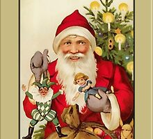 Vintage Santa with Toys Christmas Card by Pamela Phelps