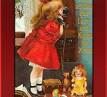 Holiday Girl on Phone Christmas Card by Pamela Phelps