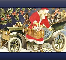 Santa Arriving in Car Christmas Card by Pamela Phelps