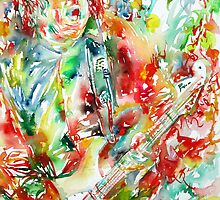 GARY MOORE PLAYING the GUITAR - watercolor portrait by lautir