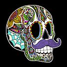 Mustache Sugar Skull (Color Version) by Tammy Wetzel