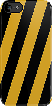 Iphone Case -  Black & Goldenrod - Broad Diagonal Stripes by chompo