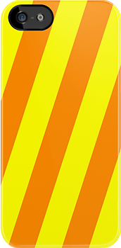 Iphone Case -  Yellow & Orange - Broad Diagonal Stripes by chompo