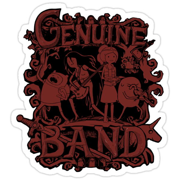 Adventure Time - Genuine Band STICKER by Justyna Dorsz