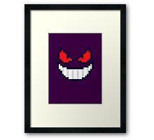 Gengar Face 8bit Framed Print