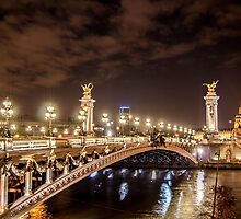 Alexander III bridge in Paris, France at night  by hpostant