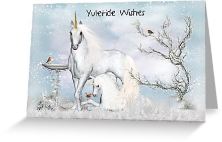 Yuletide - Yule, Greeting Card With Unicorns by Moonlake
