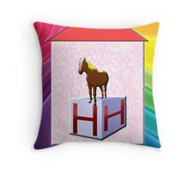 H is for Horse Play Brick Throw Pillow