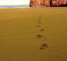 footprints in sandy empty beach on a beautiful winters day by morrbyte