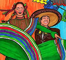 Feliz Folkdancing Couple by Nalin Solis