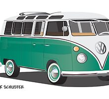 21 Window VW Bus Green by Frank Schuster