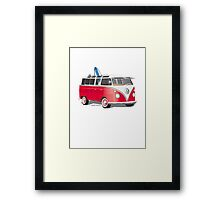 21 Window VW Bus Red/White with Surfboard Framed Print