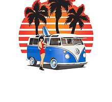 21 Window VW Bus Blue with Girl by Frank Schuster