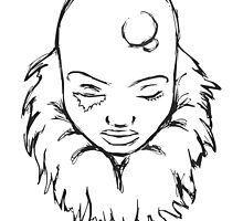 Bald Female Outline Drawing by crystofurr