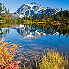 Mount Shuksan reflected in Picture Lake in Fall by Michael Russell