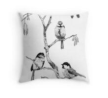 Small Garden Birds Throw Pillow
