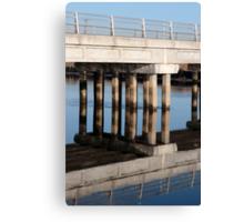 irish road bridge over cold river reflected Canvas Print