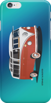 21 Window VW Bus Red White w blue backgr by Frank Schuster