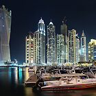 Night time lights at the Dubai Marina by Gareth Spiller