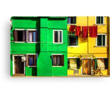 Primary Colours in Burano, Venice Canvas Print