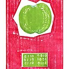 big apple retro fruit fine art binary code litho print by Veera Pfaffli