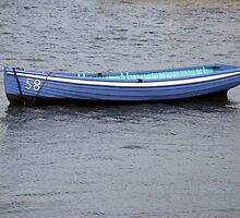 Number 58 pastel blue rowing boat, Saltash, Cornwall, UK by silverportpics