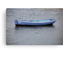 Number 58 pastel blue rowing boat, Saltash, Cornwall, UK Canvas Print