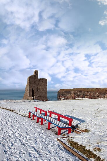 winters view of ballybunion castle and red benches by morrbyte