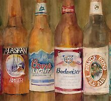 Fat Tire, Alaskan, Coors Light, Budweiser, Mirror Pond, IPA by Dorrie  Rifkin