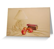 Still life with lamp and apples Greeting Card