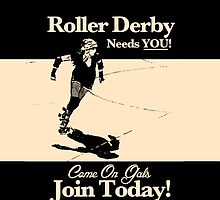 Roller Girl Recruitment iPhone & iPad Case (Vintage Black) by John Perlock