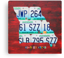 Missouri License Plate Map Canvas Print